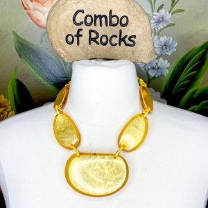 Jewelry - Amber Color Encased Shiny Shell Boho-Chic Necklace